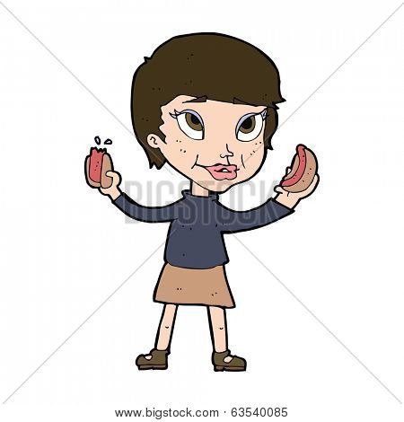 cartoon woman eating hotdogs