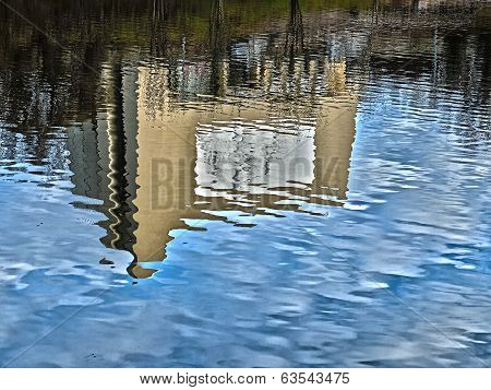 Reflection of diorama building