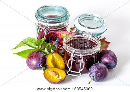 Jars With Plum Jam