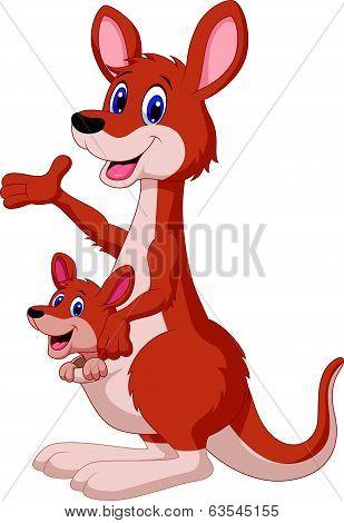 Cartoon red kangaroo carrying a cute Joey