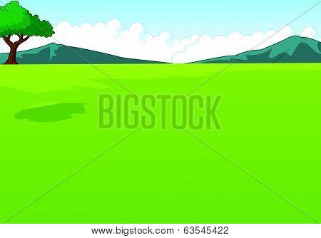 Beautiful green landscape cartoon background