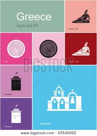 Landmarks of Greece. Set of flat color icons in Metro style. Editable vector illustration.