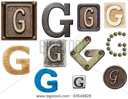 Alphabet made of wood, metal, plasticine. Letter G