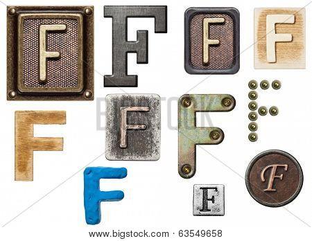Alphabet made of wood, metal, plasticine. Letter F