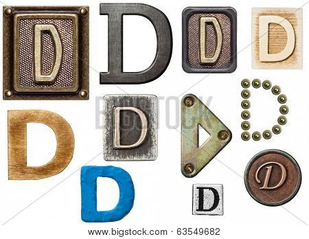 Alphabet made of wood, metal, plasticine. Letter D