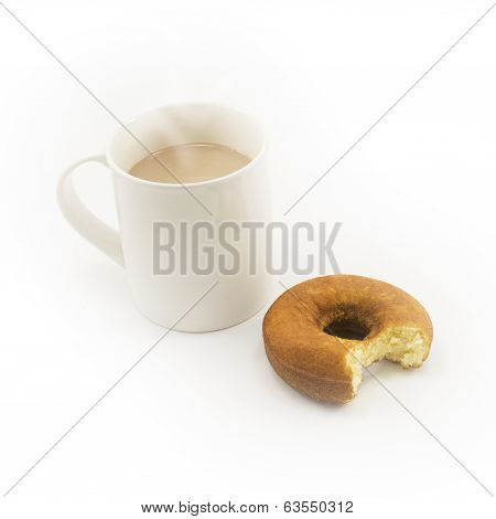 Eaten Donut And Cup Of Hot Chocolate On White Background