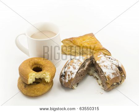 Pastries And Cup Of Hot Chocolate On White Background