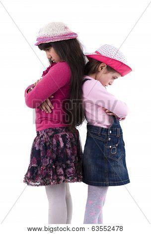 Two Little Girls In Quarrel