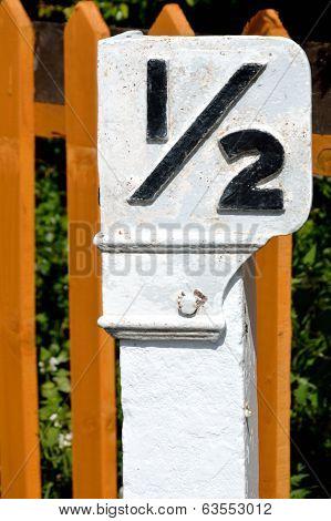 Vintage half mile post