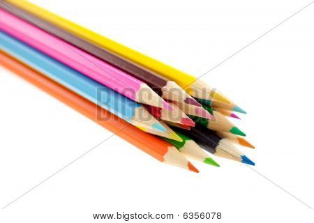 Crayons On White Background