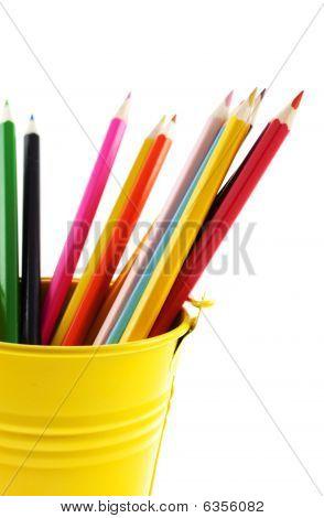 Crayons In Yellow Bucket