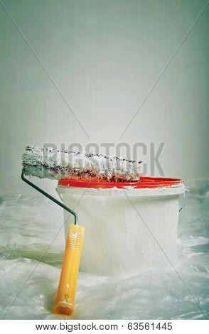 Paint Roller And Bucket Ready For Use