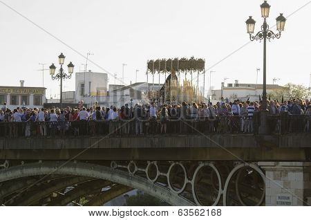 Seville. Spain - April 13: The Brotherhood Of