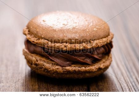 French Brown Macaron With Chocolate