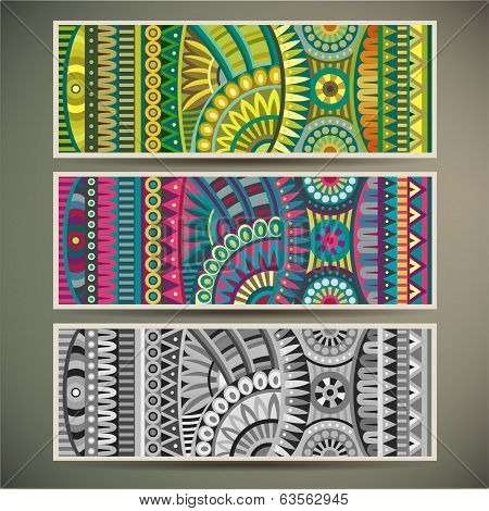Abstract vector tribal ethnic background set.