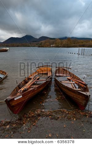 Wooden Rowing Boats On A Lake