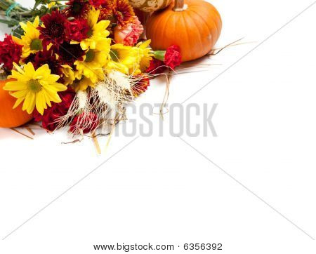 Autumn Floral Arrangement On White
