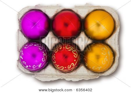 Christmas Baubles In An Eggbox