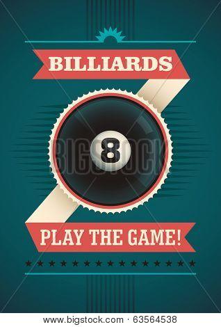 Billiards poster design. Vector illustration.