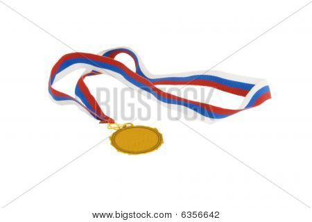 Gold Medal With Tricolor Ribbon isolated over white