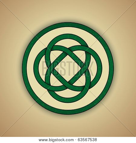 Celtic Lovers Knot Symbol of Eternal Love. Vector illustration of green celtic knot with slight grunge texture