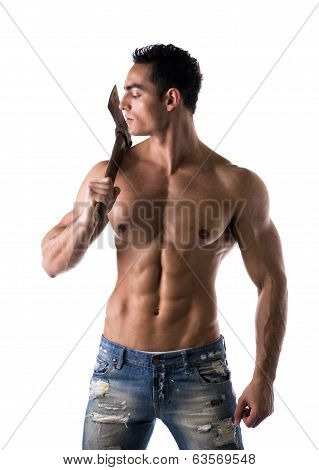 Male Muscular Shirtless Bodybuilder Holding Axe
