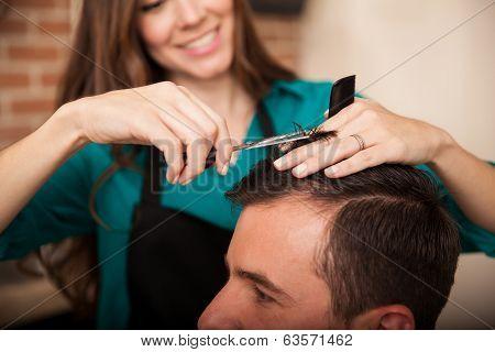 Happy Hairstylist At Work