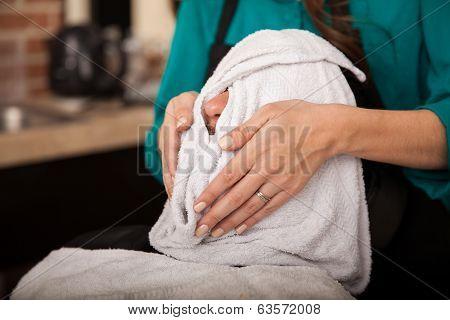 Hot Towel In A Barber Shop