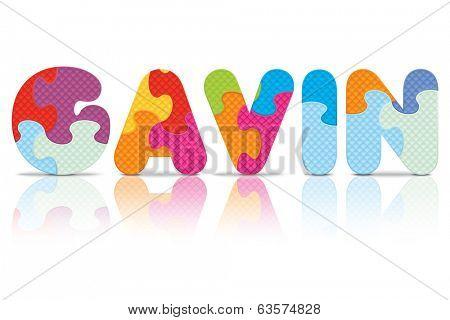GAVIN written with alphabet puzzle - vector illustration