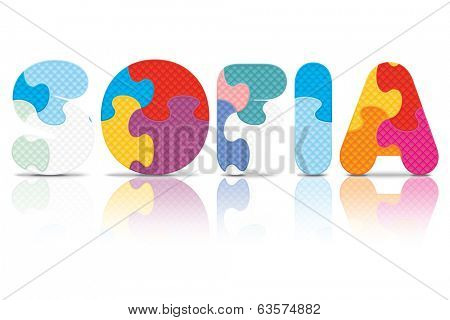 SOFIA written with alphabet puzzle - vector illustration