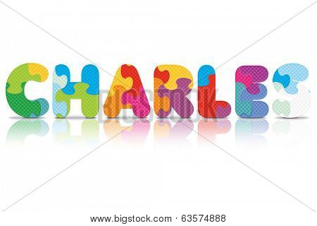 CHARLES written with alphabet puzzle - vector illustration