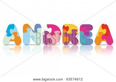 ANDREA written with alphabet puzzle - vector illustration