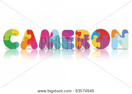 CAMERON written with alphabet puzzle - vector illustration