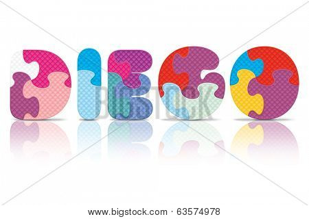 DIEGO written with alphabet puzzle - vector illustration