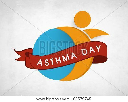 World Asthma Day concept with stylish text and symbol of a human on grey background.