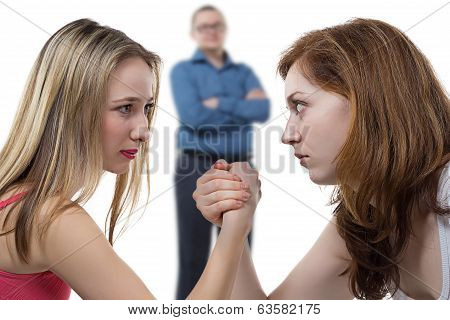 Two girls struggle for man