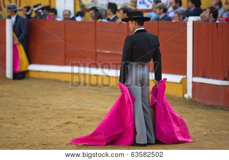 Bullfighter Waiting With Their Hands In The Cape