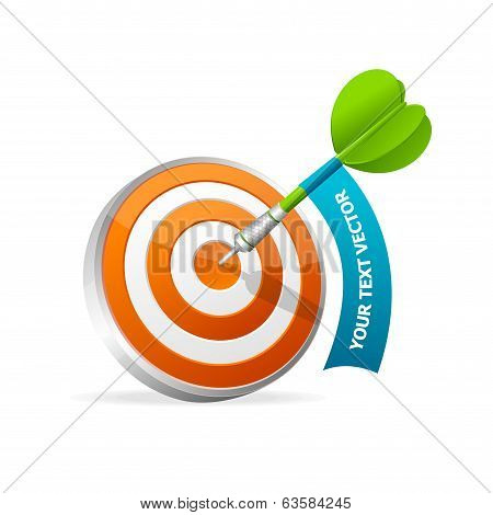 Dartboard with dart. Hitting A Target. Text banner