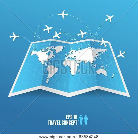 Vectorblue map icon and airplane.