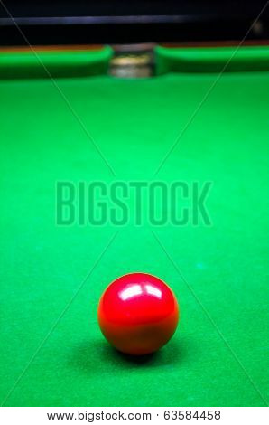 Red Billiard Ball In Front Of Pocket On Green Baize Table