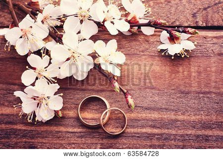 Wedding rings. Flowering branch flowers on wooden surface.