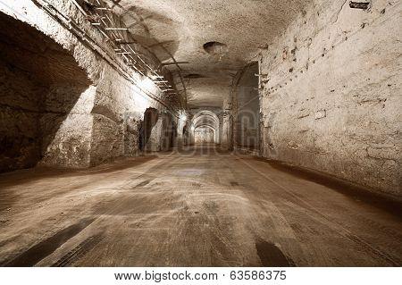 An Old Abandoned Limestone Mine Corridors