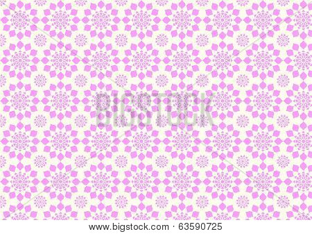 Vintage Modern Pink Flower Pattern On Pastel Color