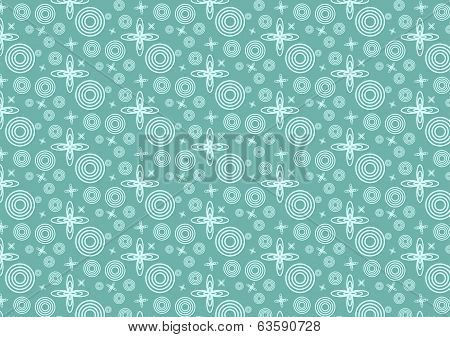 Orbit Of Star And Circle Pattern In Space On Pastel Background