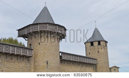 The Castle towers, Carcassonne, France.