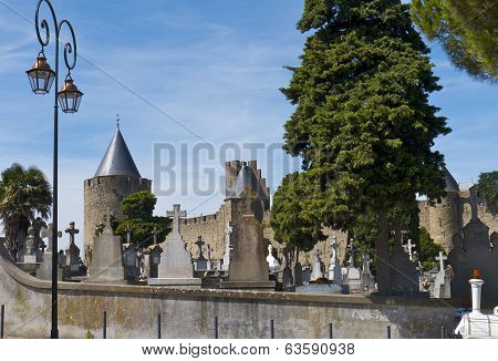 The Graveyard at Carcassonne Castle, France.