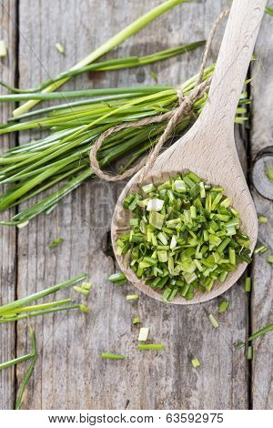 Wooden Spoon With Fresh Chive