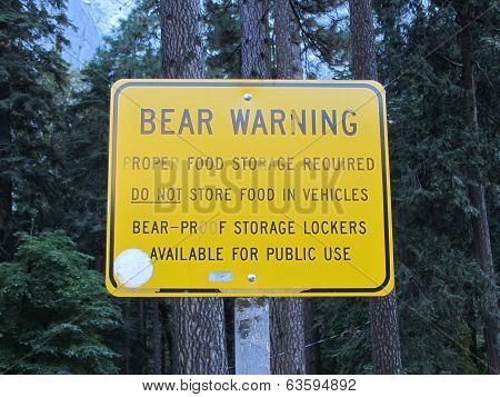 Bear Warning Sign, Yosemite National Park