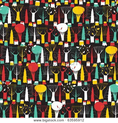 Trees Seamless Pattern Tapestry In Colors