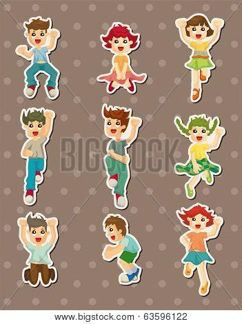 Cartoon Child Jump Stickers